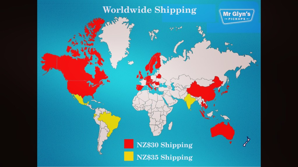 Shipping rates map for Mr Glyn's Pickups. MrGlyn's Pickups shipping